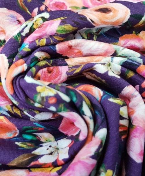 Sommersweat Blumen Aquarell aubergine