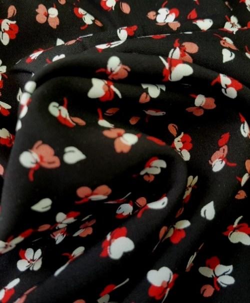 Viskose Radiance kleine Blumen schwarz/rot