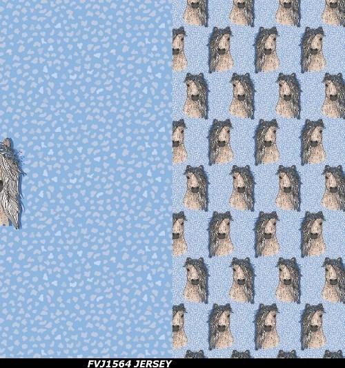 Fräulein von Julie Jersey Rapport Pferd mit Blumenkranz blau