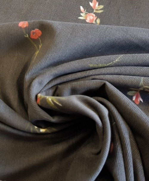Feincord Flower Print olivgrau