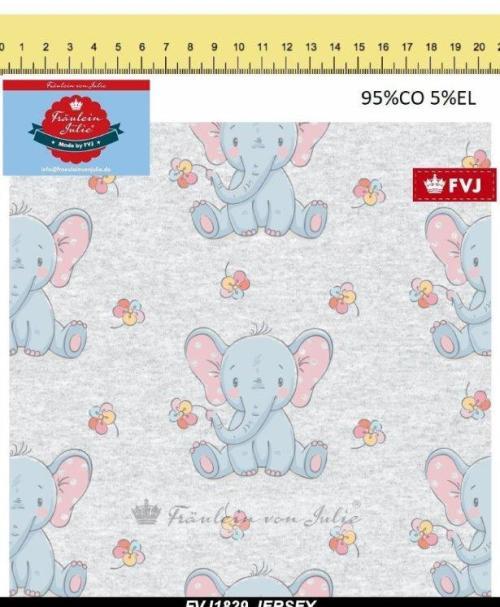 Fräulein von Julie Jersey kleiner Elefant hellgrau meliert