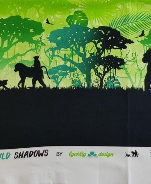 Reststück ca. 0,6m 7,20€ Jersey Wild Shadows by lycklig design Affen grün