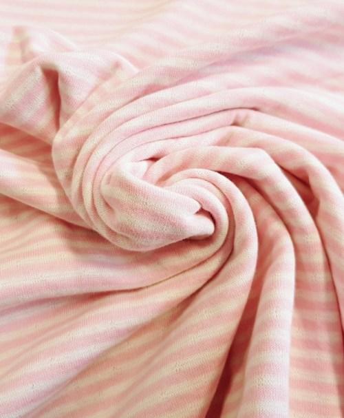 Baumwoll-Jacquard-Strick Doubleface Streifen/Punkte rosa