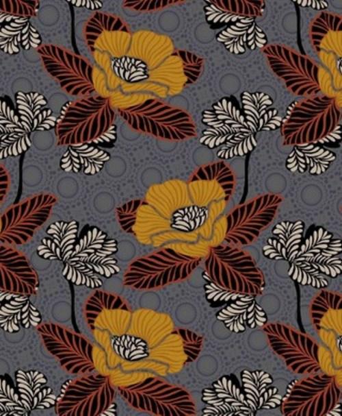 Webware Poplin oriental Flowers grey