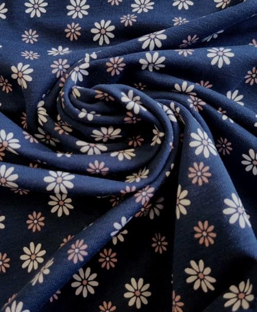 Jersey Gänseblümchen nachtblau/rosa