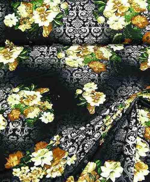 Viskosejersey Blumen Barock – schwarz/braun
