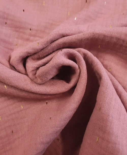 Musselin Foil Stripes rosenholz/gold