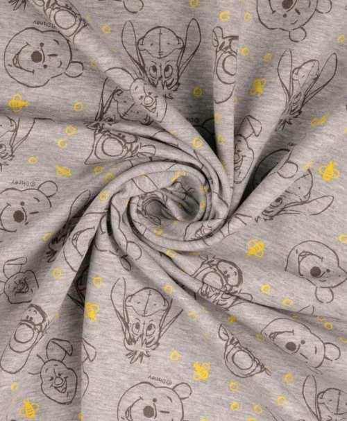 Lizenz-French Terry angeraut, Disney grau-melange, Winnie the Pooh