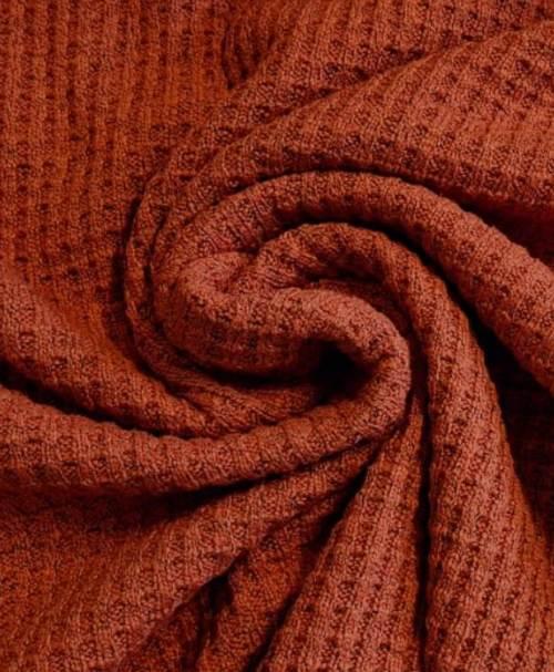 Baumwollstrick Waffel grob, melange, terra