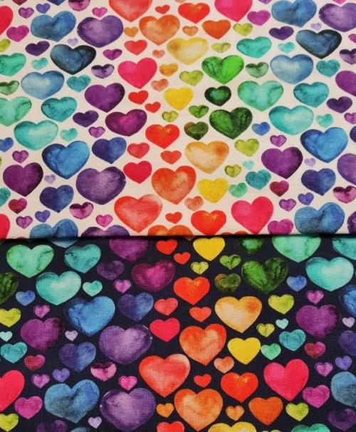 Jersey Watercolour Hearts, navy