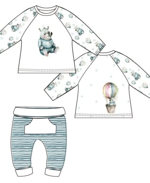 Jersey Baby-Panel Nashorn blau/weiß