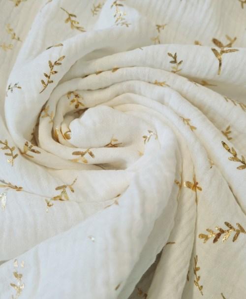 Musselin goldene Zweige, naturweiß