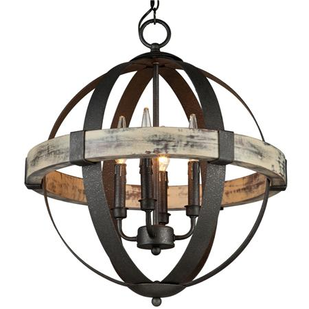Wrought Iron Orb Chandelier Light