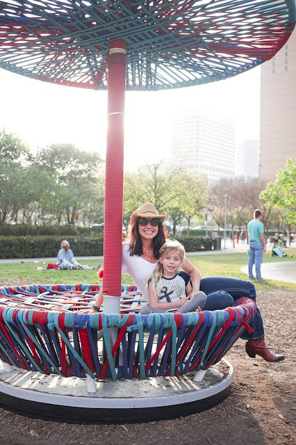 Amy West and daughter at Discovery Green in Houston