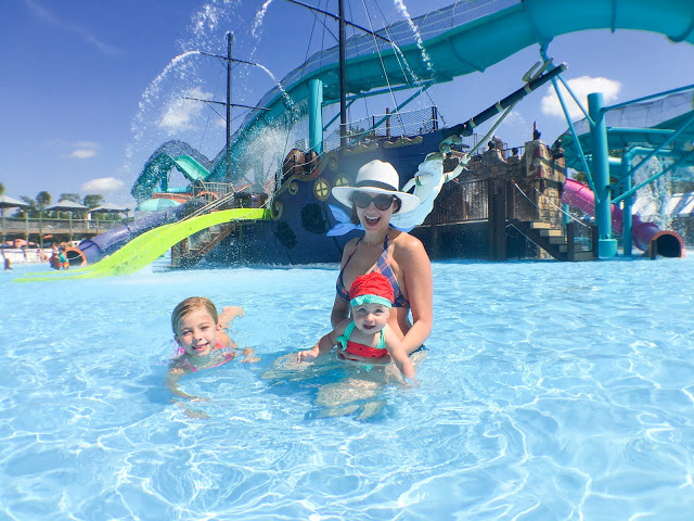 Amy West and kids at Adventure Landing
