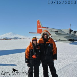 Landing on the ice runway in front of Mt Erebus