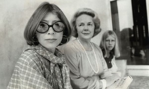 9/1/1977 Joan Didion, left, her daughter Quintana Didion (right) and Abigail McCarthy photographed in Washington D.C..  (Teresa Zabala/The New York Times)