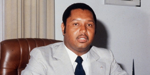 A file portrait shot in March 1982 of Jean-Claude Duvalier, alias Baby Doc, then life President of Haiti, at Port au Prince. Ex-president Jean-Claude Duvalier is en route to Haiti said a diplomatic source on January 16, 2011. AFP PHOTO / FILE (Photo credit should read GIOVANNI CORUZZI/AFP/Getty Images)