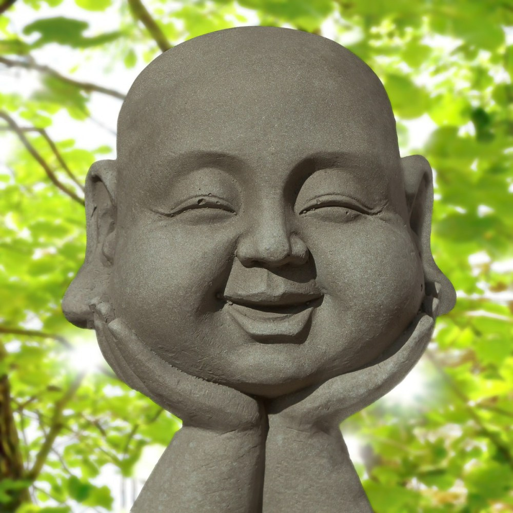Buddha head, resting on hands