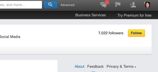Follow button - personal profiles.