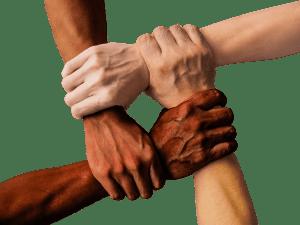 Linked hands.