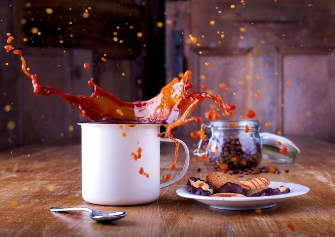 Spilled coffee to illustrate a content marketing mistake.