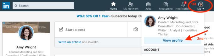 Customize LinkedIn public URL steps 1 and 2.