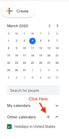 Screenshot of adding a new Google calendar.