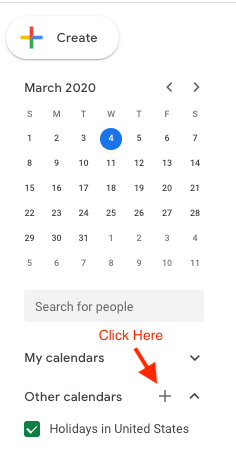 Screenshot of adding a new Google calendar.
