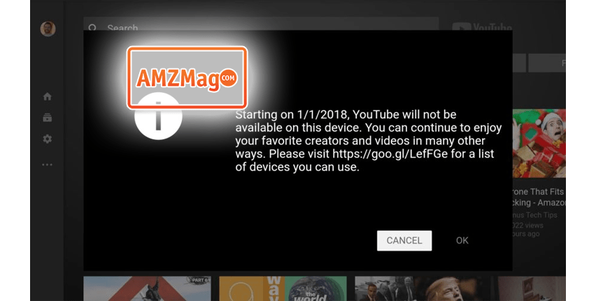 Google will block YouTube from the Amazon Fire TV on January