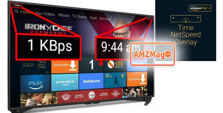 New Amazon Fire TV app can place the Time and/or Network Activity in the upper screen corners (@amazon)
