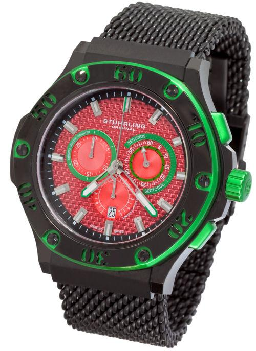 Stuhrling Original 292 335982 Iconoclast Swiss Chrono Green/ Red Mens Watch 847988001373 | eBay