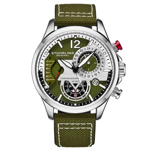 Stuhrling 908 03 Aviator Quartz Chronograph Date Green Leather Mens Watch | eBay