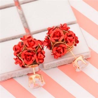 Double Side Rose Stud Earrings Crystal Earrings Women Fashion Jewelry