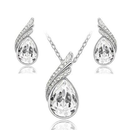 Crystal Rhinestones Earrings Necklace Women Fashion Jewelry Sets