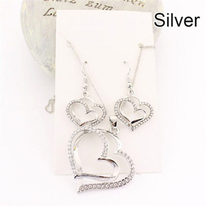 Double Heart Pendant Necklace Earrings Women Fashion Jewelry Set