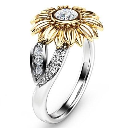 Elegant Crystal Sunflower Ring Women Fashion Jewelry