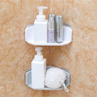 Bathroom Kitchen Corner Rack Organizer Shelf Plastic Suction Cup