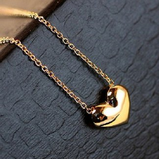 Heart Gold Color Women Pendant Necklace Fashion Jewelry