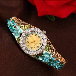 Numeric Crystal Rhinestones Flower Bracelet Women Quartz Watch