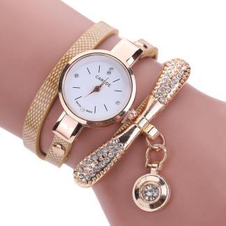 Golden Multi-Layers Leather Rhinestone Analog Quartz Women Wrist Watch