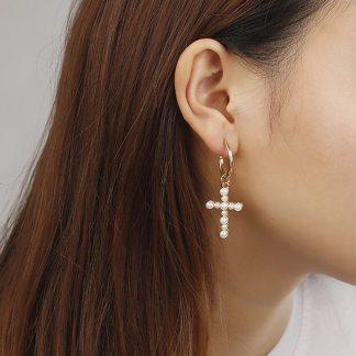 Pretty White Cross Faux Pearls Drop Earrings Women Fashion Jewelry