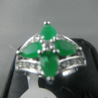 Green Lab Jade Rhinestones Women Ring Fashion Jewelry