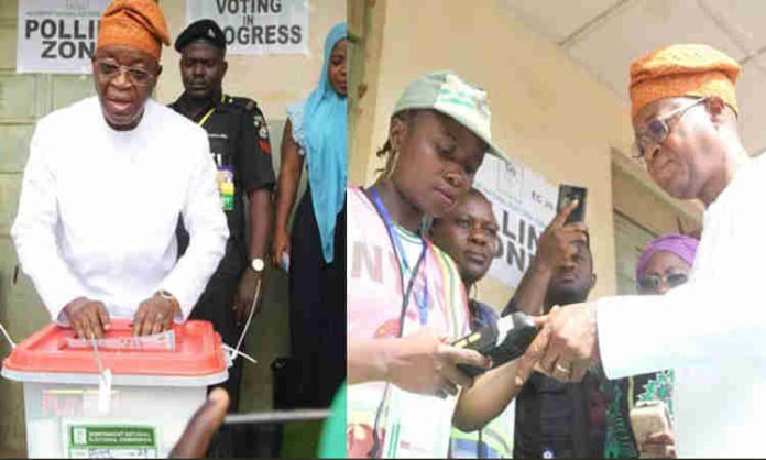 APC Candidate, Isiaka Oyetola Casts His Vote