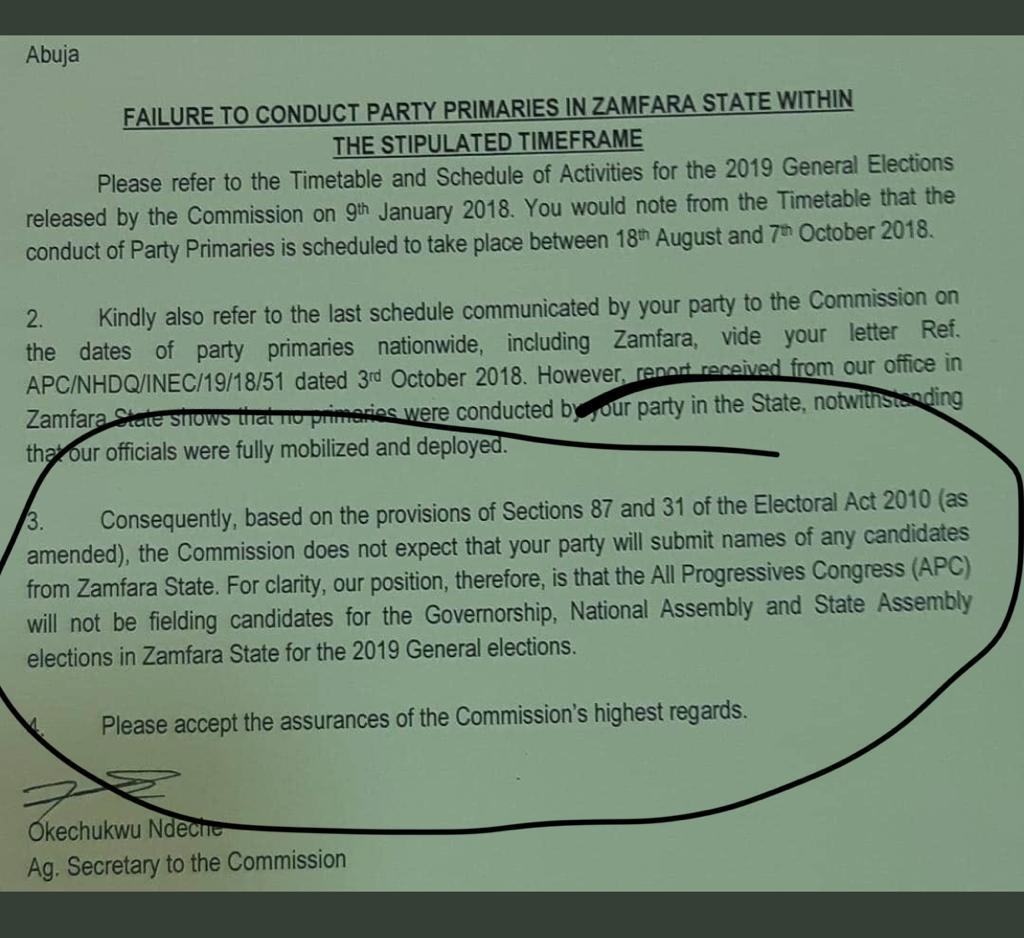 BREAKING: INEC Bans APC From Fielding Candidates In Zamfara