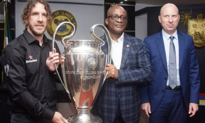 Lagos State Governor, Mr Akinwunmi Ambode on Wednesday received the UEFA Champions League Trophy alongside its Ambassador and former captain of Barcelona FC of Spain, Carles Puyol in Lagos House, Alausa, Ikeja.