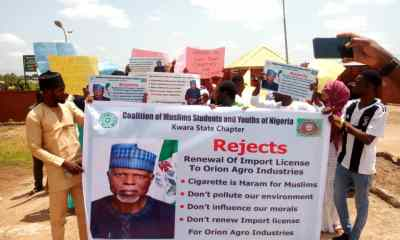 The Coalition of Muslims Students and Youths of Nigeria, Kwara State Chapter today held a peaceful protest against the renewal of Import license to Cigarettes producing factory located in a University environment.