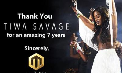CEO of Mavin Records Don Jazzy took to his Instagram page to celebrate Tiwa Savage as she ends her contract with the label.