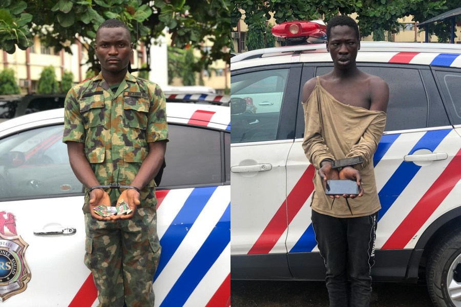 The operatives of the Rapid Response Squad (RRS), a unit of the Lagos State Police Command on Wednesday arrested a fake soldier and a robber.