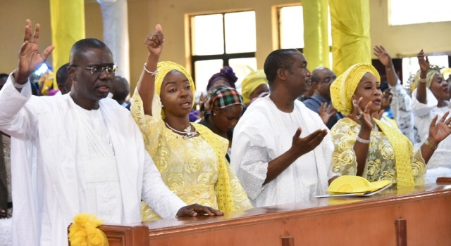 The Governor of Lagos State, Mr. Babajide Sanwo-Olu, Deputy, Dr. Obafemi Hamzat in appreciation for a successful campaign and inauguration had a special Thanksgiving service at Chapel of Christ The Light, Alausa, Ikeja on Sunday.